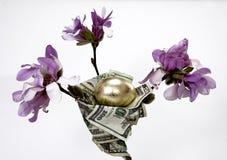 Nest Egg. Gold egg in a nest of bills Royalty Free Stock Image