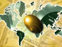 Nest Egg. Golden egg over currency and credit card earth Stock Images