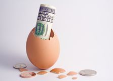 Nest Egg. 100 dollar bill hatching from egg with change Stock Photography