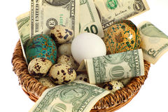 Nest egg in one basket. A nest egg, perhaps, or else all the eggs in one basket. Financial and business concept Royalty Free Stock Photos