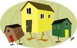 Nest egg. Three cartoon houses with chicken legs on an egg shaped background, symbolizing a nest egg, vector illustration, no transparencies Royalty Free Stock Photography