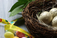 A nest with eggs Royalty Free Stock Photos