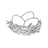 Nest with eggs isolated on white. Vector linear illustration with eggs in the nest isolated on white stock illustration