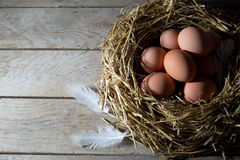 Nest with Eggs and White Feather on an Old Wooden Table, View From the Top Stock Photo