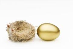 Nest en gouden ei stock foto's