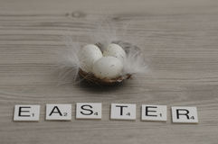 A nest filled with small white eggs with the word Easter Royalty Free Stock Images