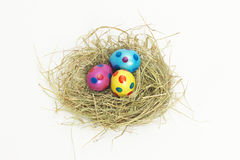 Nest full of colorful Easter Eggs from above Royalty Free Stock Photo