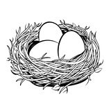 Nest with golden egg coloring vector illustration. Nest with golden egg retro coloring vector illustration. Isolated image on white background. Comic book style Stock Image