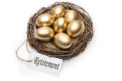 Nest with golden eggs with a tag and a word retirement on a white background. The concept of successful retirement.  Stock Images