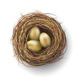 Nest with golden eggs on white background, illustration Royalty Free Stock Image