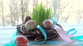 Nest with the group of easter eggs. Home made nest with the group of easter eggs