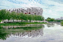 Nest gymnasium. It is national gymnasium of china,this is a distant view。the gymntion looks like a nest.it was the olympic main venue in 2008 stock image