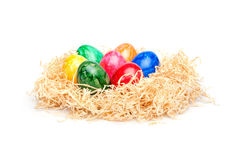 Easter - Colorful Eggs in a Wood Wool Nest Royalty Free Stock Image