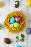 Nest met geschilderde eieren Hoogste mening Royalty-vrije Stock Fotografie