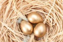 Nest met gouden kwartelseieren Stock Afbeelding
