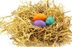 Nest mit Ostereiern Stockfotografie