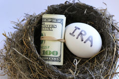 Nest with money and egg. With IRA on it royalty free stock image