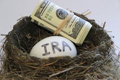 Nest with money and egg. With IRA on it royalty free stock photo