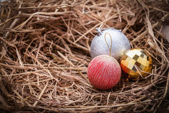 Nest with New year toys decoration Stock Image
