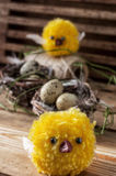 Nest with  quail eggs and chick. Spring composition by nest with  quail eggs and chick Royalty Free Stock Image