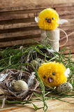 Nest with  quail eggs and chick. Spring composition by nest with  quail eggs and chick Stock Images