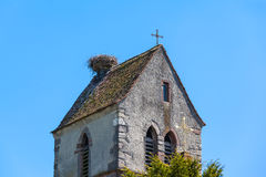 Nest of Stork on top of Chapel Royalty Free Stock Images