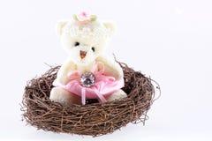 Nest with a Teddy Bear Royalty Free Stock Photos