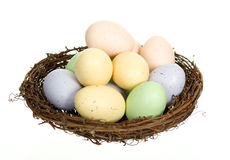 Nest with Twelve Eggs. Twelve colorful speckled animal eggs in a nest, isolated on white Stock Photo