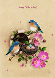 Nest with two blue birds. Beautiful Vintage Greeting Mothers Day card with Nest with two blue birds . Computer graphics royalty free illustration