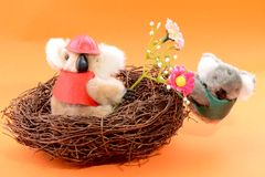 Nest with two Toy Koala Royalty Free Stock Image