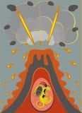 Nest van een draak in een vulkaan. royalty-vrije illustratie