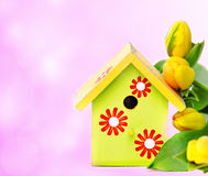 Nestbox and yellow tulips Stock Photography