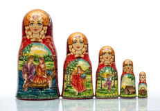 Nested doll. A Old national Russian doll of handwork Royalty Free Stock Photography