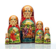 Nested doll. A Old national Russian doll of handwork Royalty Free Stock Image
