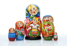 Nested doll. A Old national Russian doll of handwork stock photo