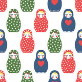 Nested doll seamless pattern. Cute wooden Russian doll - Matrioshka. Stock Photo