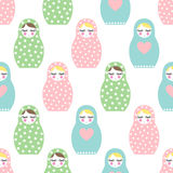 Nested doll seamless pattern. Cute wooden Russian doll - Matrioshka Royalty Free Stock Images
