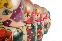 Nested dolls. Russian nested dolls on a white background Stock Photos