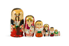 Nested dolls family standing in a row Royalty Free Stock Image