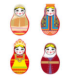 Nested dolls set. Matryoshka with different traditional Russian ornaments. Isolated vector illustration. Stock Photography