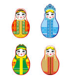 Nested dolls set. Matryoshka with different traditional Russian ornaments. Isolated vector illustration. Royalty Free Stock Photos