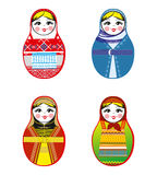 Nested dolls set. Matryoshka with different traditional Russian ornaments.  Stock Photography