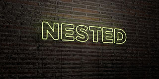 NESTED -Realistic Neon Sign on Brick Wall background - 3D rendered royalty free stock image Royalty Free Stock Photos