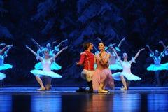 Nestel me samen zeer de warm-eerste handeling van het vierde Land van de gebiedssneeuw - de Balletnotekraker stock foto