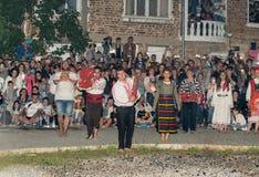 Nestinar danse dans le village de Bulgari, Bulgarie du sud Photographie stock libre de droits