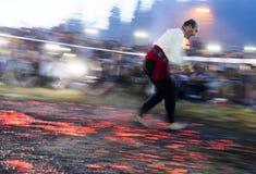 Nestinar walking on fire Stock Image