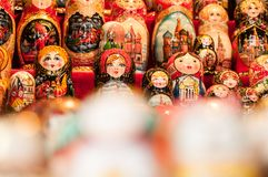 Nesting doll Russian souvenir on the street of Moscow royalty free stock photography