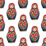 Nesting doll. The traditional symbol of Russia. Hand drawing. Vector seamless pattern Stock Image