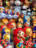 Nesting dolls. Russian Matryoshka dolls at a souvenir stall in Moscow. Matryoshkas are a set of wooden dolls of increasing size placed one inside the other Royalty Free Stock Photography