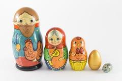 Nesting dolls based on the story Hen Ryaba Royalty Free Stock Images